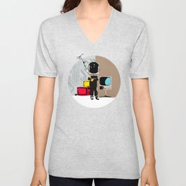 Check your head out - Collage Unisex V-Neck
