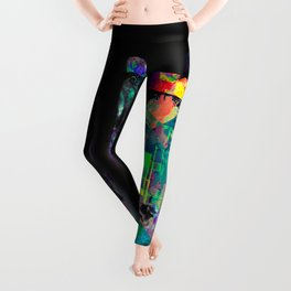 dollar bill with colorful painting abstract in blue red yellow green Leggings
