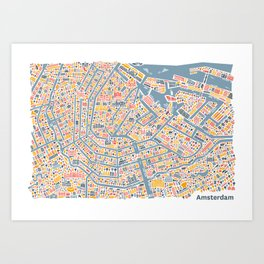 Amsterdam City Map Poster Art Print
