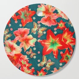 Amaryllis and Butterflies 2 Cutting Board