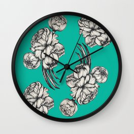 Inked Peonies in Turquoise Pattern Wall Clock