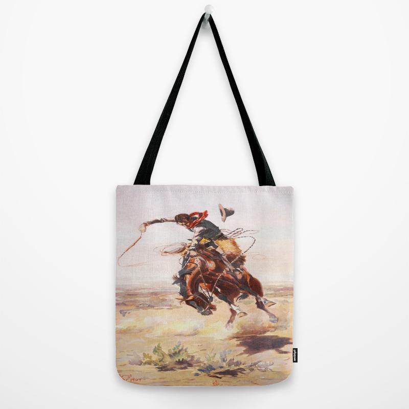 Vintage Western Cowboy Bronc Rider C M Rus Tote Bag