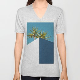 Cactus blue white Unisex V-Neck
