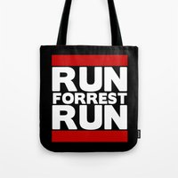 forrest gump Tote Bags featuring Forrest Gump Run by Spyck