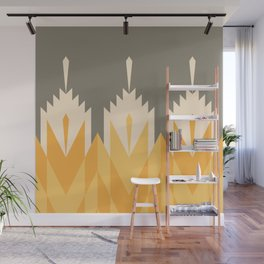 Tribal Feather Pattern Yellow Gold Wall Mural