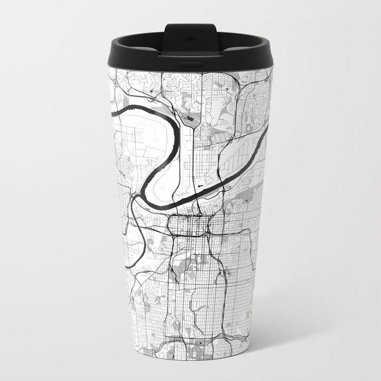 Kansas City Map Gray Metal Travel Mug