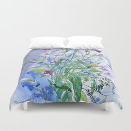 Meadow flowers - watercolor painting Duvet Cover