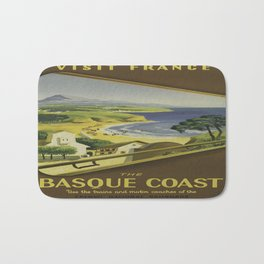Vintage poster - Basque Coast, France Bath Mat