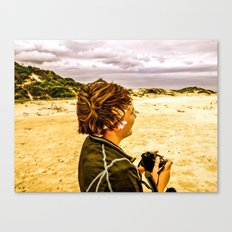 Girl and Camera Canvas Print