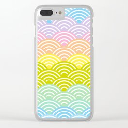 Seigaiha or seigainami literally means blue wave of the sea. rainbow pattern abstract scale Clear iPhone Case