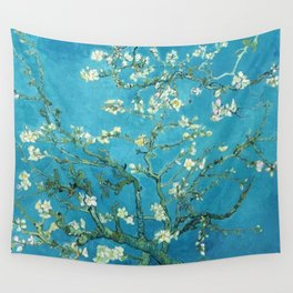 Vincent van Gogh Blossoming Almond Tree (Almond Blossoms) Light Blue Wall Tapestry