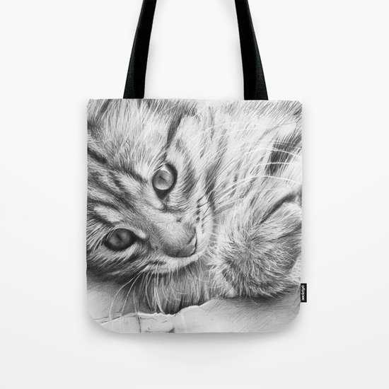 Cat Kitten Dawing Tote Bag