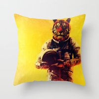 Throw Pillows featuring I'm from the future by rubbishmonkey
