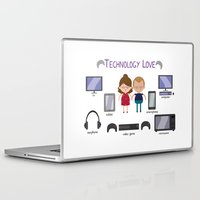 technology Laptop & iPad Skins featuring Technology Love by Juliana Motzko