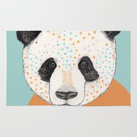polkadot Area & Throw Rugs featuring Polkadot Panda by Sandra Dieckmann