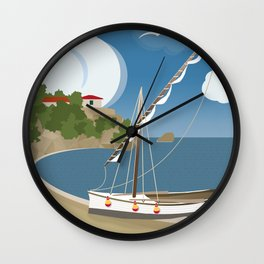 Boat on the beach of Saint John, Lefkada (GR) Wall Clock