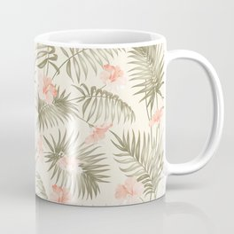 Pastel green blush coral vector tropical floral pattern Coffee Mug
