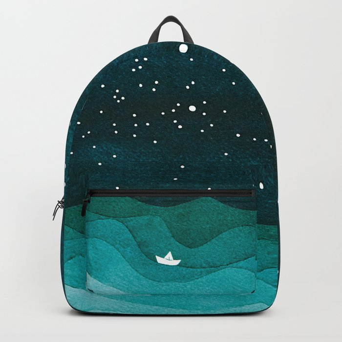 Starry Ocean, teal sailboat watercolor sea waves night Backpack
