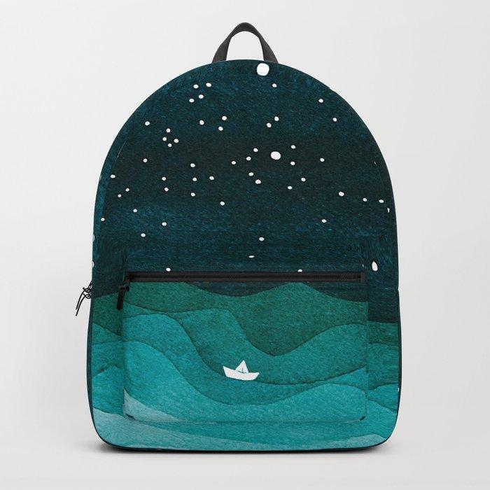Starry Ocean, teal sailboat watercolor sea waves night Rucksack