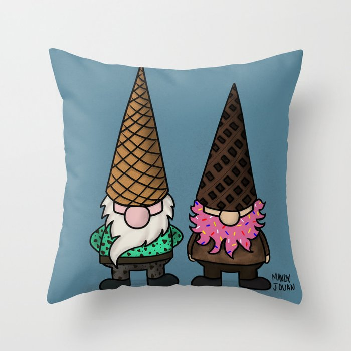 Ice Cream Gnomes Throw Pillow