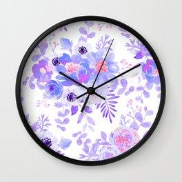 Lilac lavender violet pink watercolor elegant floral Wall Clock