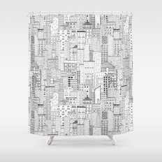 City Doodle (day) Shower Curtain