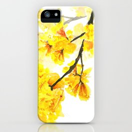 yellow trumpet trees watercolor yellow roble flowers yellow Tabebuia iPhone Case