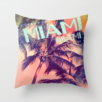 miami Throw Pillows featuring miami by Vlad Isac