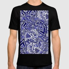 Modern navy blue indigo floral hand drawn pattern Mens Fitted Tee Black MEDIUM