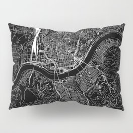 Cincinnati Black Map Pillow Sham