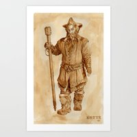 nori Art Prints featuring Nori the Dwarf - in coffee by Kotte