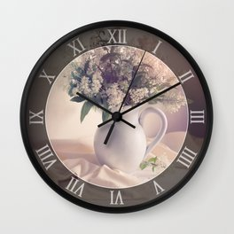 Still life with white privet flowers Wall Clock