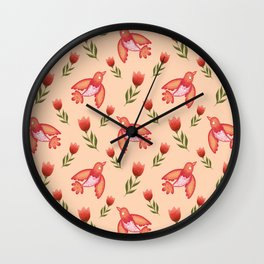Pretty cute little wild canary birds, red blooming garden tulips, nature flowers bright peach color pattern. Hello summer. Gifts for tulip lovers. Botanical floral artistic design. Wall Clock