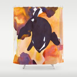 Diving Orca - Orange and Yellow Shower Curtain