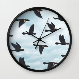red-winged blackbirds and blue sky Wall Clock
