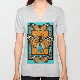 WESTERN  BUTTERFLIES ORANGE BEETLE TURQUOISE ART Unisex V-Neck