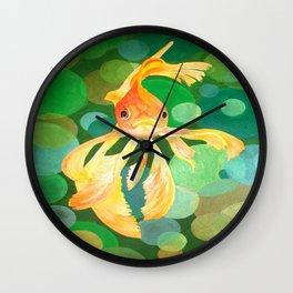 Vermilion Goldfish Swimming In Green Sea of Bubbles Wall Clock