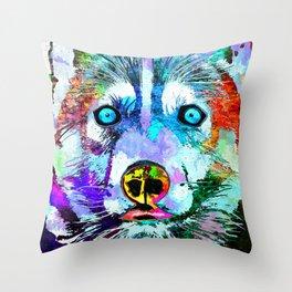 Husky Dog Watercolor Grunge Throw Pillow