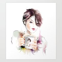 cup Art Prints featuring cup by tatiana-teni