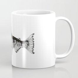 Wild Salmon, Hidden scene, dot-work, pointillism, stippling, Ocean, River, Stream, Fish, Waves Coffee Mug