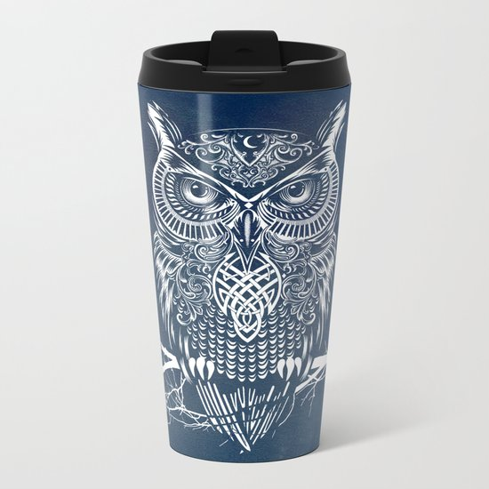 Warrior Owl Night Metal Travel Mug