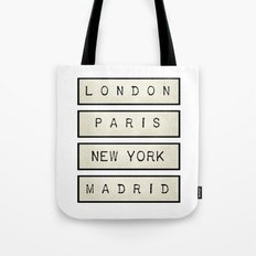 London | Paris | New York | Madrid Tote Bag