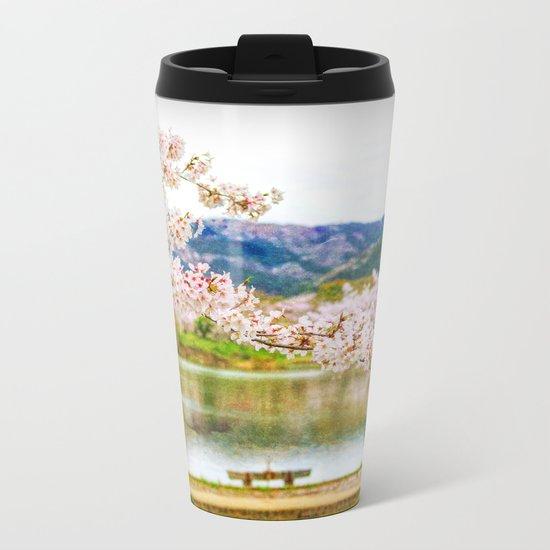 Beautiful cherry blossom and pond 2 Metal Travel Mug