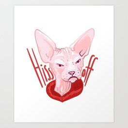 Hiss off - angry sphynx cat Art Print