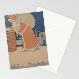 Vintage Santa Claus Going Down The Chimney Illustration (1901) Stationery Cards