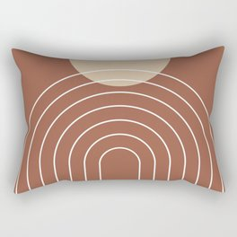 Mid Century Modern Geometric 3 (Terrocatta and beige) Rectangular Pillow