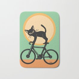 Cat loves a bike Bath Mat