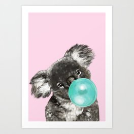 Playful Koala Bear with Bubble Gum in Pink Art Print