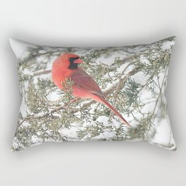 Cardinal on a Snowy Cedar Branch (sq) Rectangular Pillow