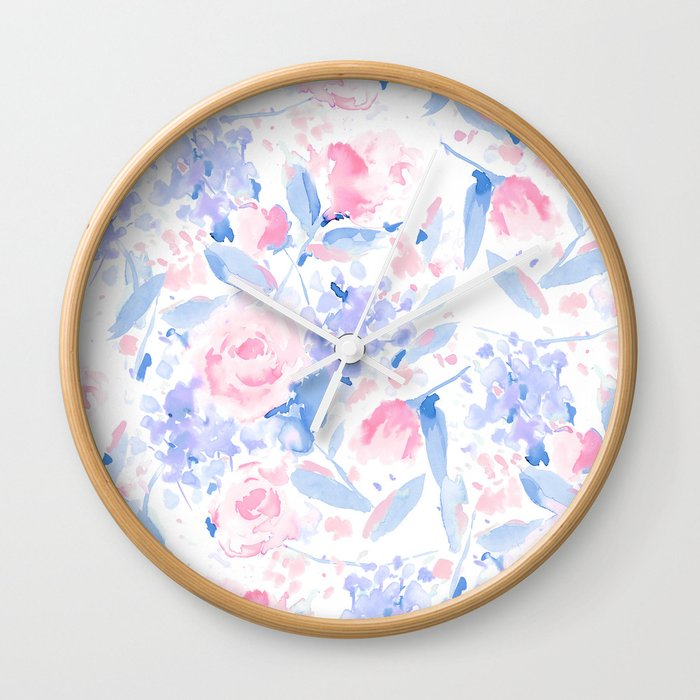Scattered Lovers Blue on White Wall Clock